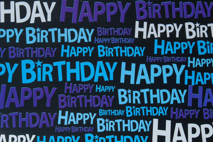 Blue & purple 'Happy birthday' wrapping paper