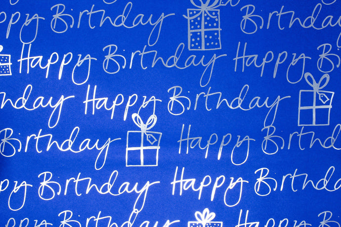 Cobalt blue 'Happy birthday' wrapping paper
