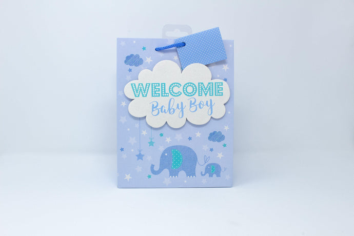 'Welcome baby boy' gift bag
