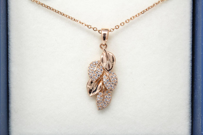 Eq falling leaves rose gold necklace