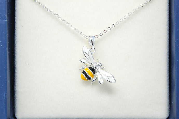 Eq handpainted spkl bee necklace