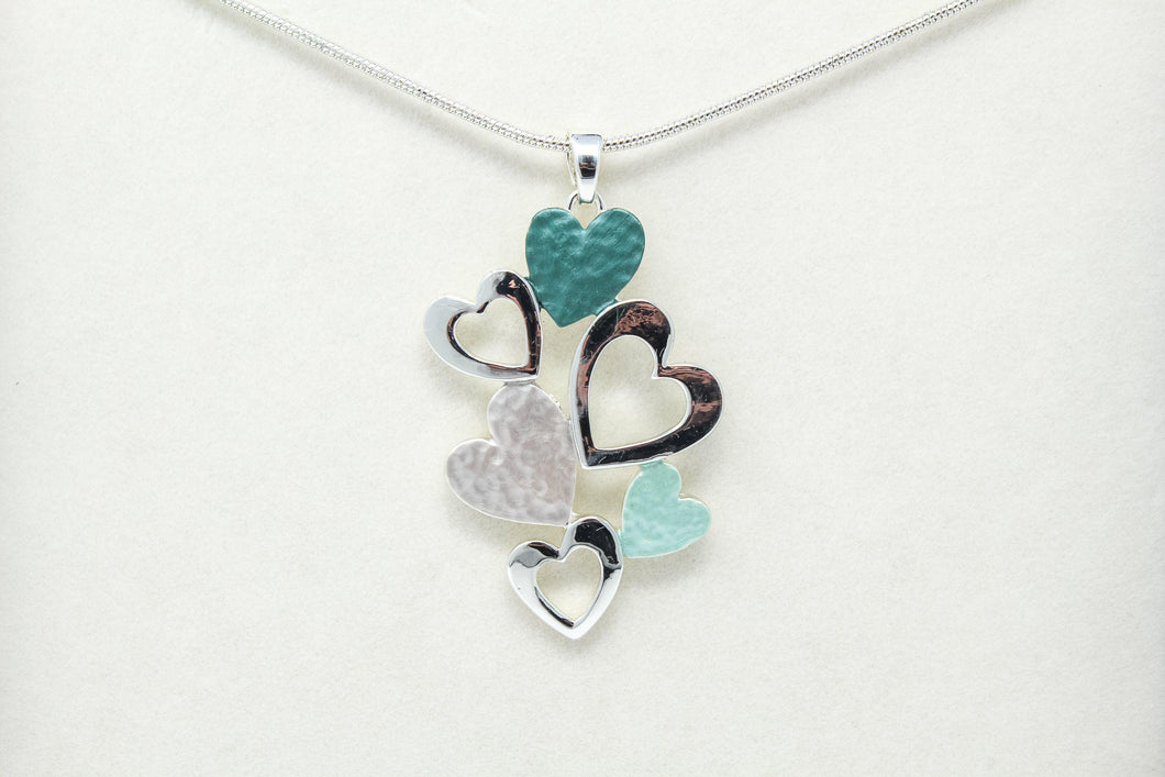 Sage tone pretty hearts necklace