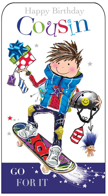 Cousin Birthday Skater Card