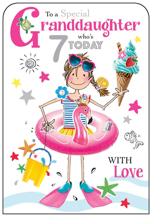 Granddaughters 7th Birthday Card