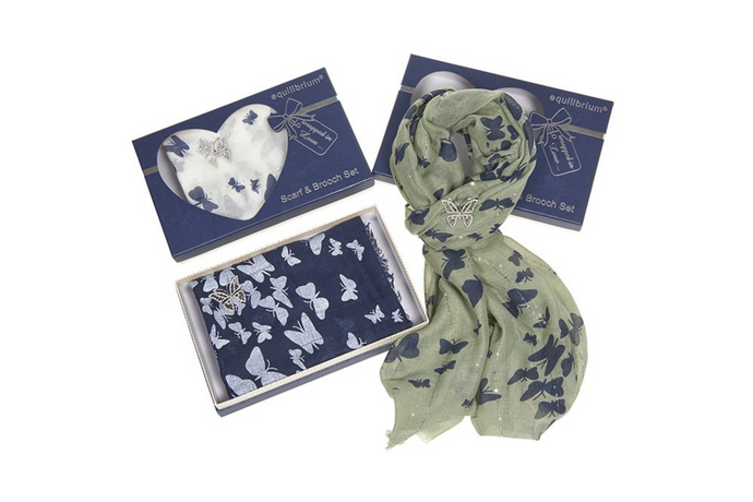 Butterfly scarf & brooch set