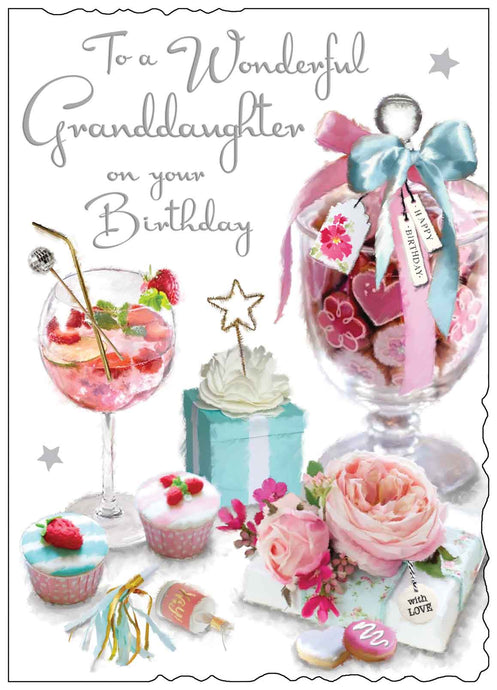 Wonderful granddaughter on your birthday card