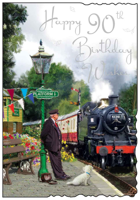 Happy 90th birthday steam train card