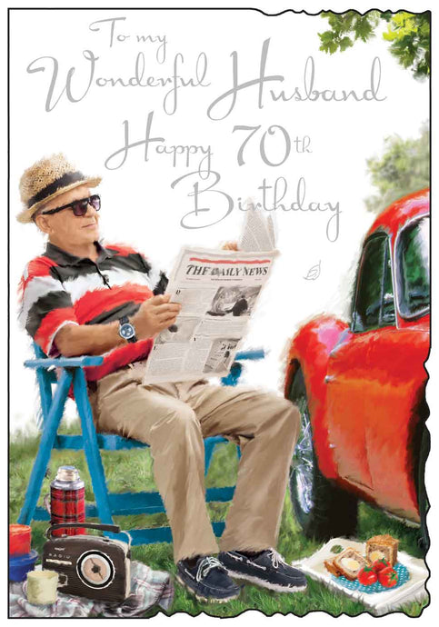 Wonderful husband 70th birthday card