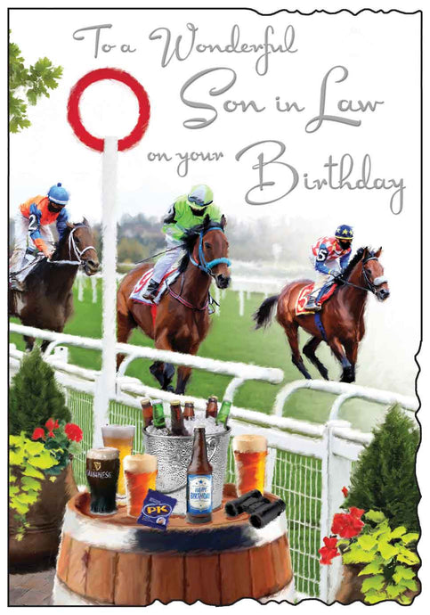 Wonderful son in law horse racing birthday card