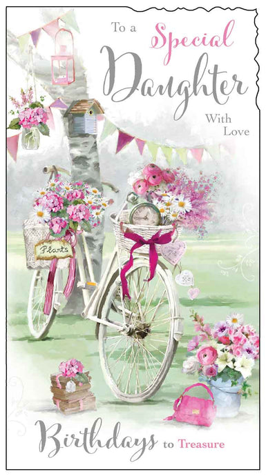 Daughter bicycle birthday card