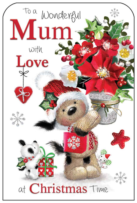 Wonderful mum with love Christmas card