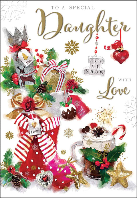 Special daughter with love Christmas card