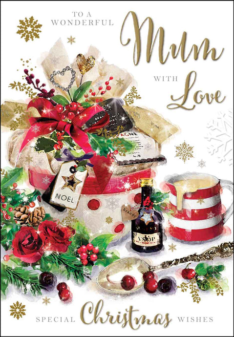 To a wonderful mum with love Christmas card