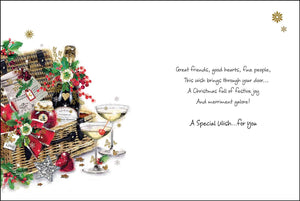 To special friends with festive wishes Christmas card