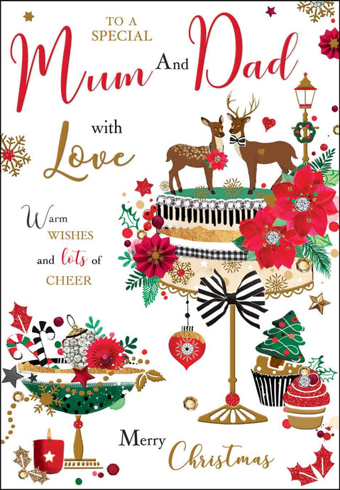 Special mum & dad with love Christmas card