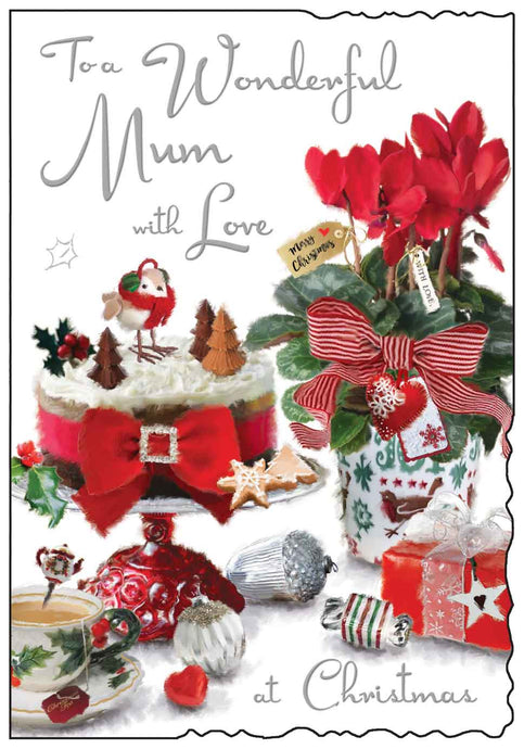To a wonderful mum with love at Christmas card