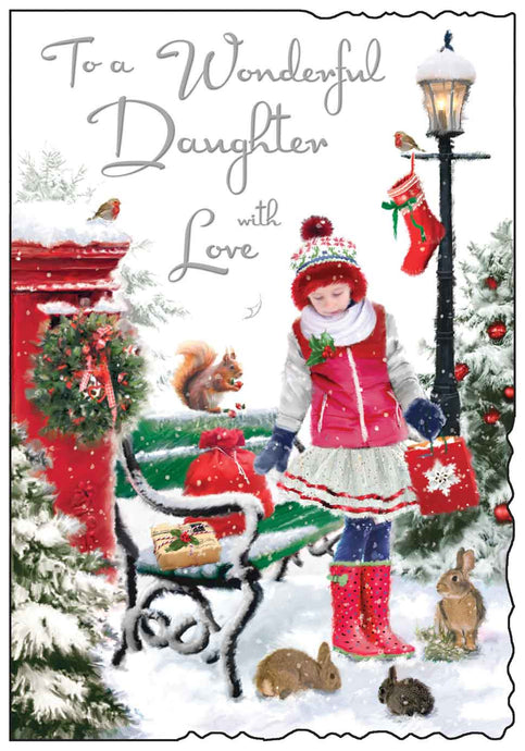 Wonderful daughter with love Christmas card