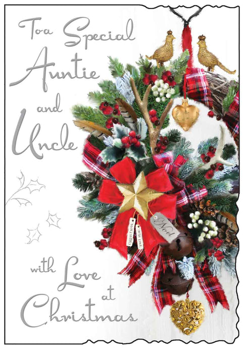 Special auntie & uncle with love at Christmas card