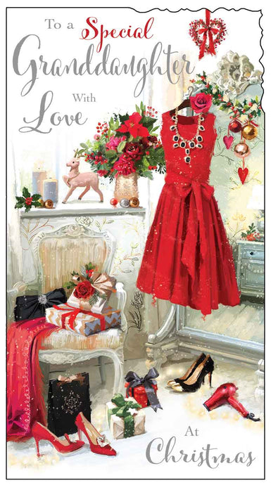 Special granddaughter with love Christmas card