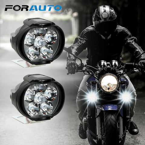 1 Pair Motorcycles Headlight 6500k White Super Bright 6 LED Working Spot Light