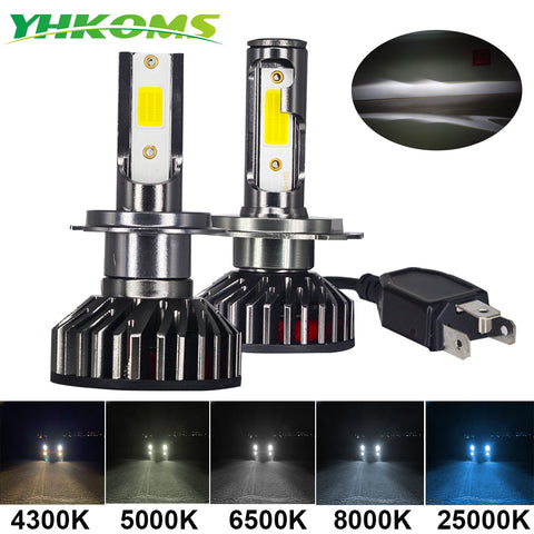 Mini Size Car Headlight H4 H7 LED 3000K 4300K 5000K 6500K 8000K 25000K