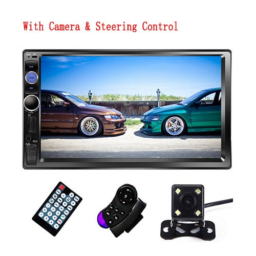 "Universal Car Radio 7"" Bluetooth Stereo Multimedia Touch Screen Support Rear View Camera"