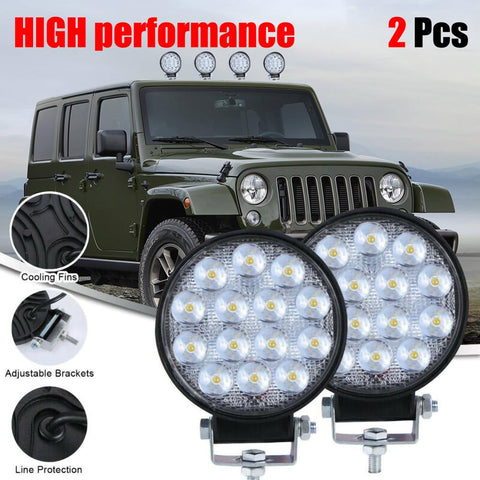 Round 140W LED Work Light 12V 24V Car Light Bright Beam Off-Road 2pcs