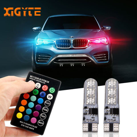 2 Pieces T10 W5W LED Car Lights LED Bulbs RGB With Remote Control