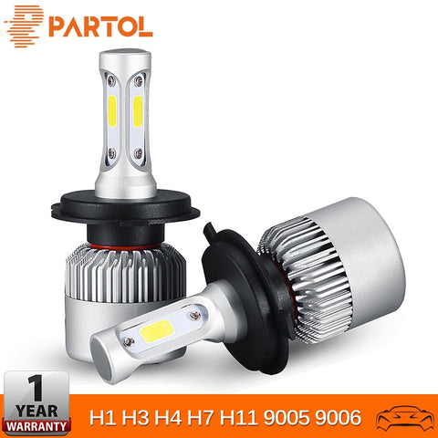 Partol H4 H7 H11 H1 Car LED Headlight Bulbs 72W LED 9005 9006 H3 6500K 12V 24V