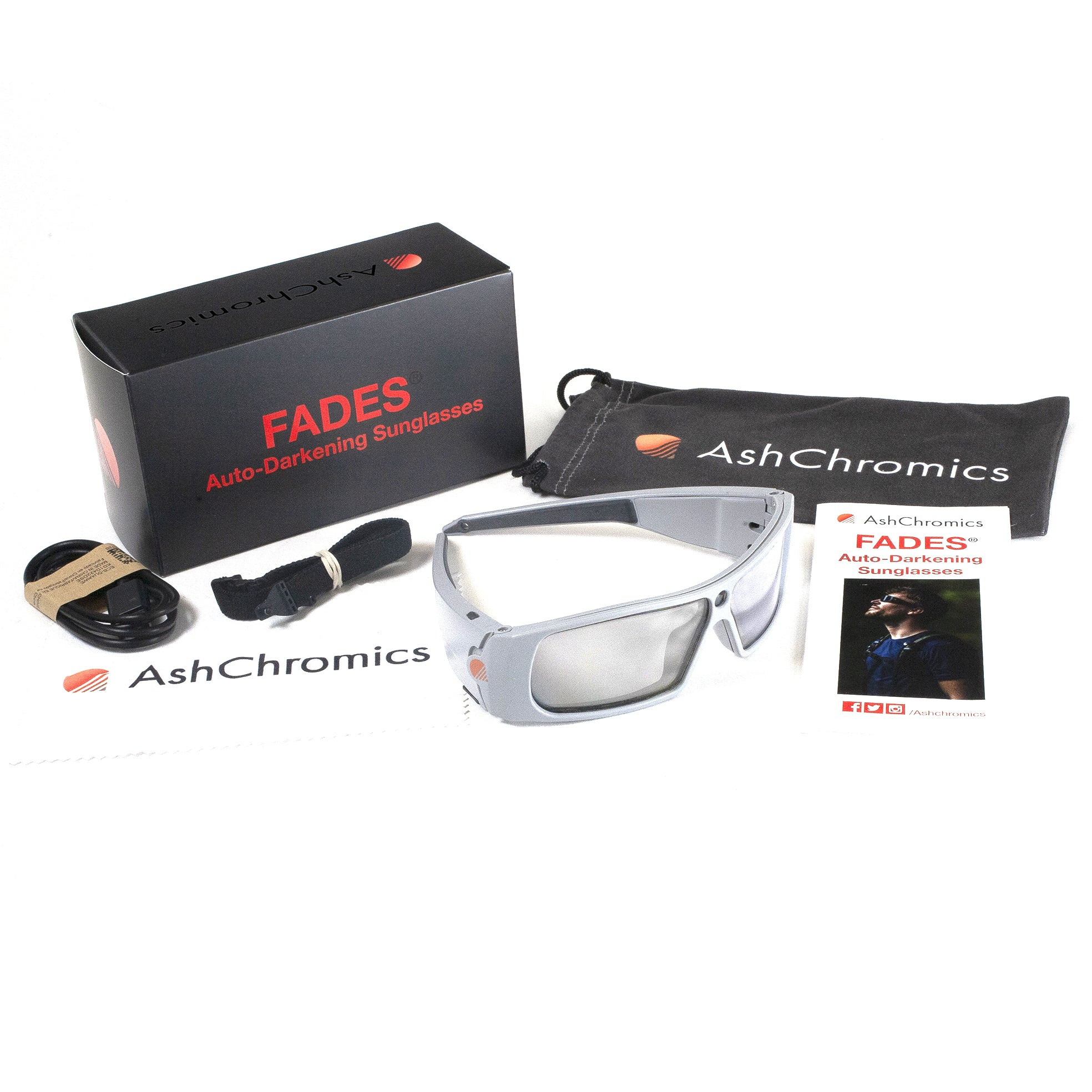 AshChromics Auto Darkening Biking Sunglasses Package