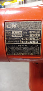 CM Industrial Lodestar Hoist, Model B , USED CONDITION, 1/4 Ton Cap, 10 FT Lift, 230/460