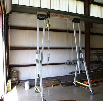 EME 4400 Aluminum Movable Gantry Crane - includes both 15 FT beam and 8 FT beam & AMH Manual Chain Hoist (Like New Condition)
