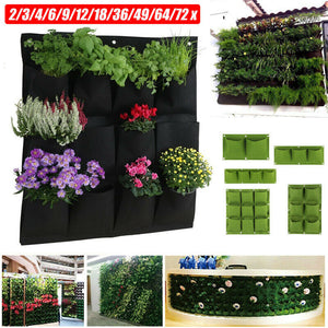 2/3/4/7/9/18 Pockets Garden Wall Hanging Planting Bags Green Plant Grow Planter Vertical vegetable Garden Supplies Bags