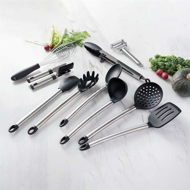 10pcs Kitchen Utensil Set Silicone Cooking Tools Stainless Steel Handle Tongs Opener Vegetable Peeler Kitchen Tools Set