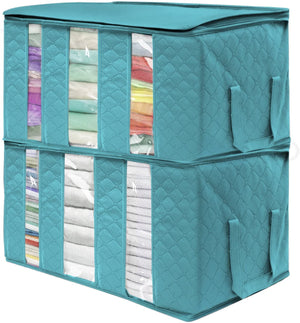 Foldable Storage Bag Organizers 3 Sections for Clothes Blankets Closets Bedrooms 2-Pack