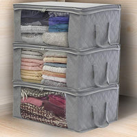 Non-woven Fabric Folding Storage Box Quilt Clothes Collecting Case With Zipper Toys Storage Organizer With Clear Window Bag