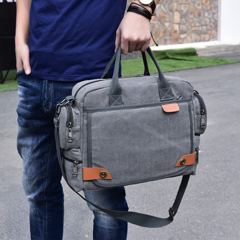 Multi-function canvas men bag Fashion shoulder bag for men Business casual crossbody messenger bag briefcase travel bags