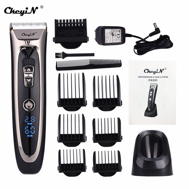 Professional Digital Hair Trimmer Rechargeable Electric Hair Clipper Men's Cordless Haircut Adjustable Ceramic Blade