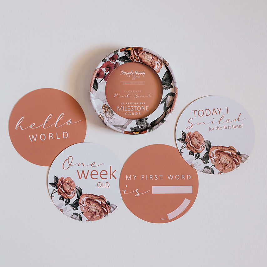 Reversible Milestone Cards - Florence & Pink Sand