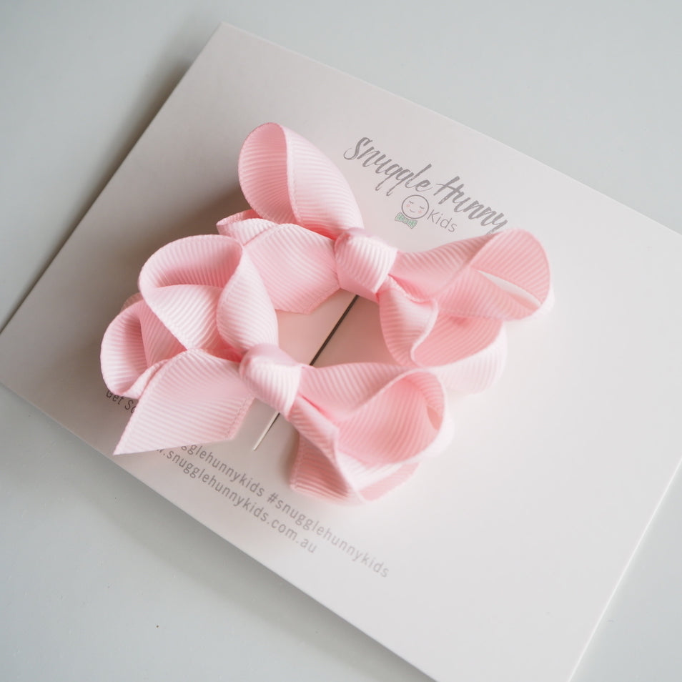 Clip Bow (Small Piggy Tail Pair) - Light Pink