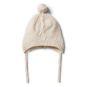 Knitted Cable Bonnet - Oatmeal Melange