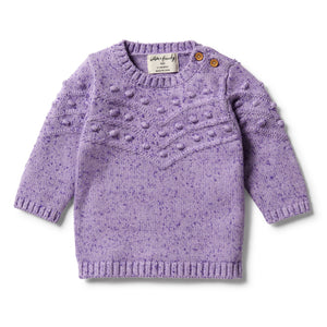 Knitted Bauble Jumper -Pastel Lilac Fleck