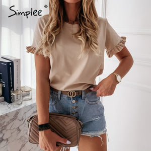 ANNU ATTIRE Simplee casual ruffles short sleeve plus size shirts women solid loose t shirt all-match top ladies 2020