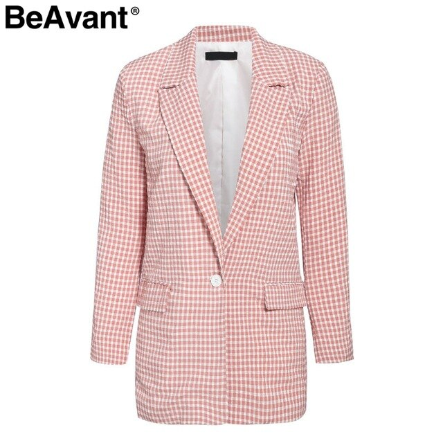 ANNU ATTIRE BeAvant Elegant women blazer Long sleeve pockets single button  female casual coat Office ladies outerwear chic tops