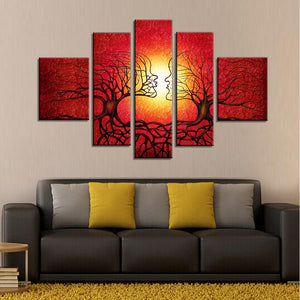 5 Pieces romantic red tree canvas oil painting