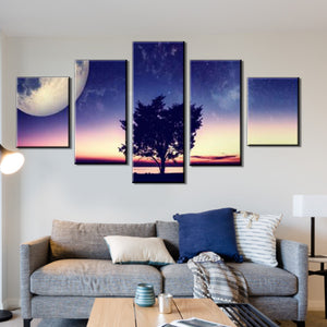 5 Pieces fantasy landscape tree canvas oil painting