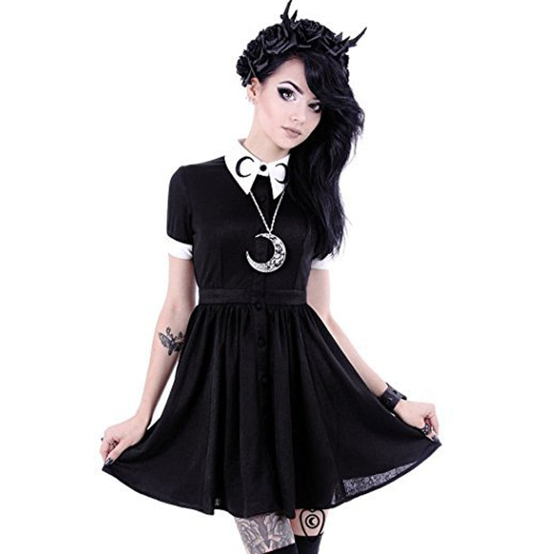 ANNU ATTIRE Collar Crescent Print Goth Pleated Mini Dress