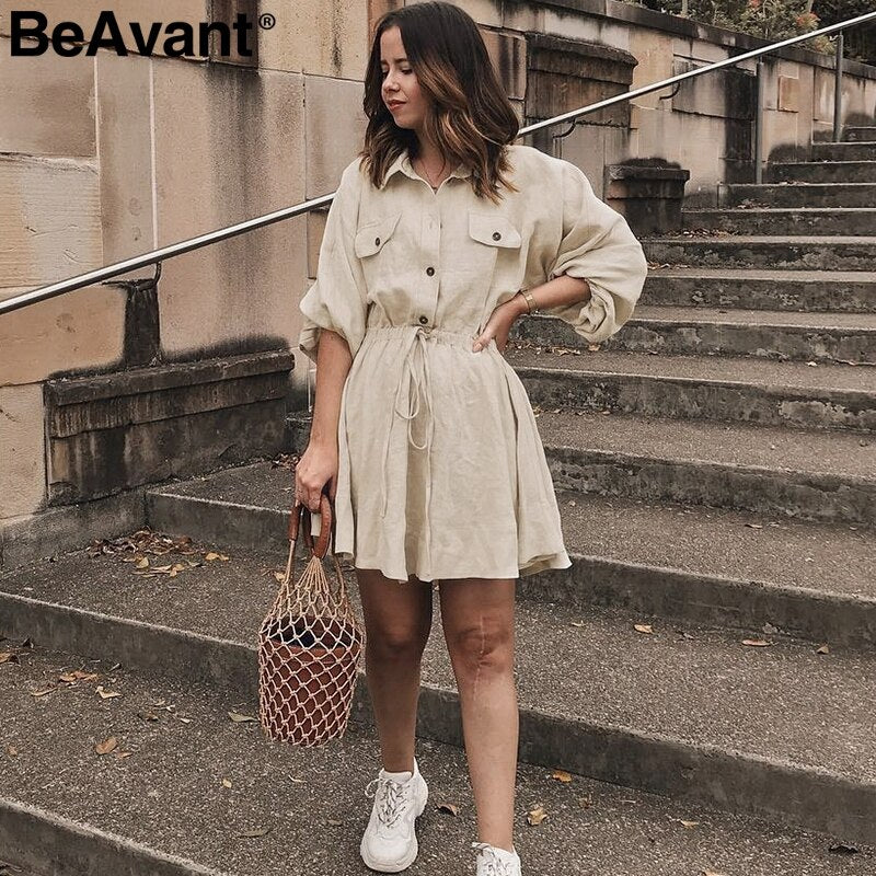 ANNU ATTIRE BeAvant Lnen cotton summer dress shirt women Lantern sleeve loose short dress Buttons casual office high waist dresses ladies