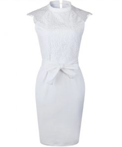 ANNU ATTIRE White Lace Midi Dress