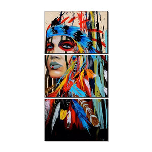 Native woman abstract oil painting